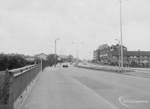 View from Beam Bridge, Rainham Road South, Dagenham north-west towards St Peter and St Paul's Church, also known as Dagenham Parish Church, 1976