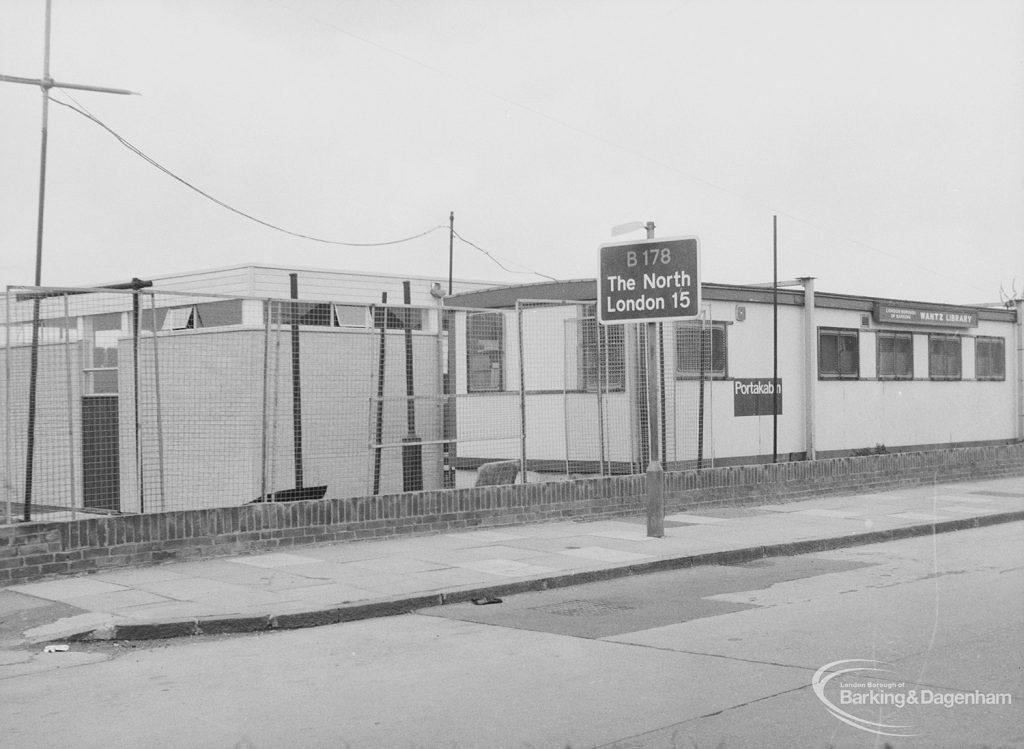 Wantz Library, Rainham Road North, Dagenham, temporary building in Portakabin during rebuilding, 1976