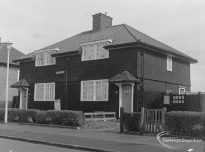 Timber housing in Stanhope Road, Dagenham, showing two houses opposite east end of Brittain Road, taken from south-west, 1977