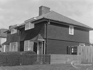 Timber housing in Blomville Road, Dagenham, taken from south-east, 1977