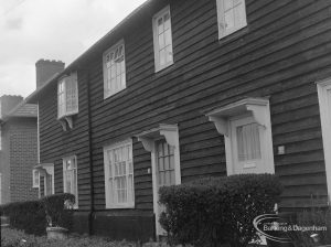 Timber housing in Green Lane, Dagenham, showing north side of four houses at 905 – 903 Wood Lane, 1977