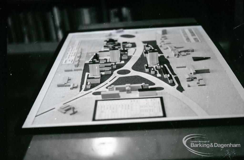 A model showing the redevelopment of Becontree Heath taken for the Architect's Department, 1965