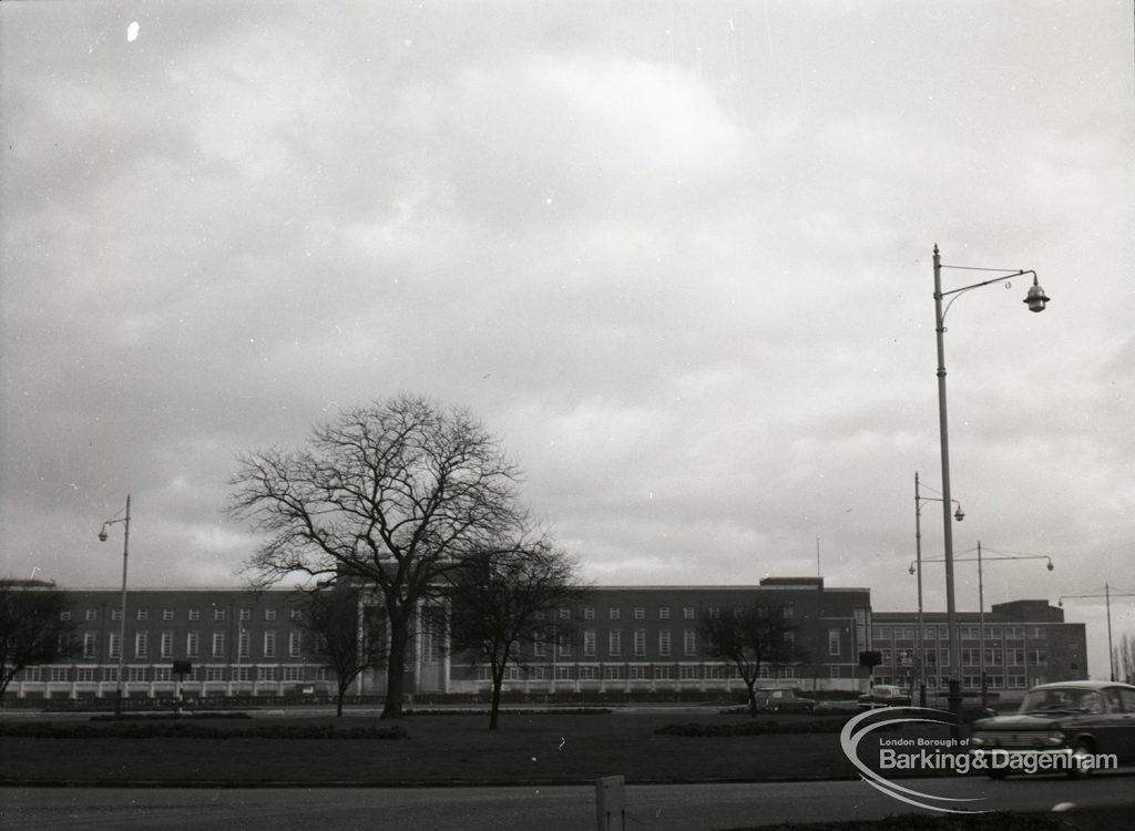 The Civic Centre, Dagenham, and new extension, taken from far west, 31 January 1965