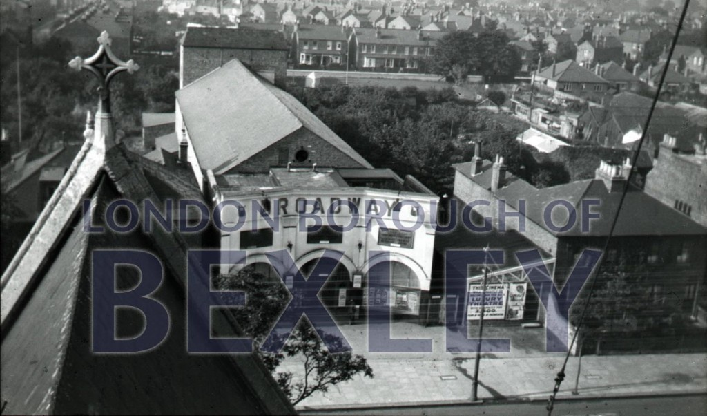 Broadway cinema from  roof of Christ Church c1920