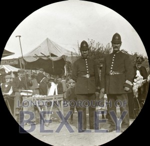 PHBOS_2_874 Police officers at Fair in Swan field Crayford c1900
