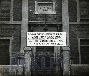 PHBOS_2_883 Poster for lecture outside Trinity Chapel, Bexleyheath c1905