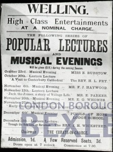 PHBOS_2_892 Poster for popular lectures held in Welling Iron Church c1893