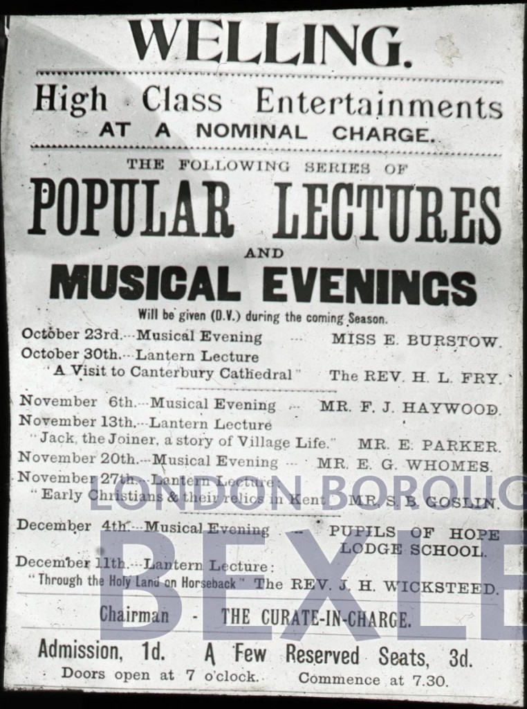 Poster for popular lectures held in Welling Iron Church c1893