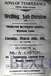 PHBOS_2_894 Poster for lecturette at Welling Primitive Methodist Chapel 1911
