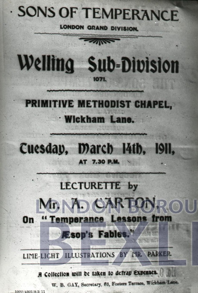Poster for lecturette at Welling Primitive Methodist Chapel 1911