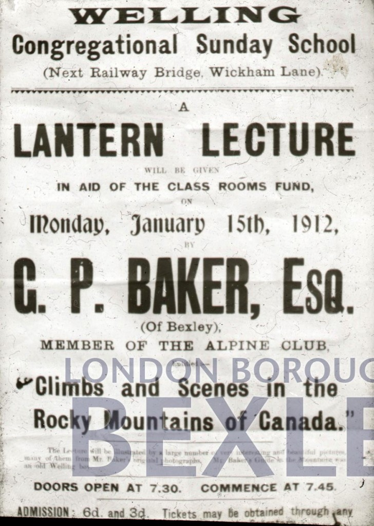 Poster for lantern lecture Welling Congregational Sunday School 1912