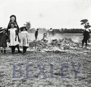 PHBOS_2_937 Ashes of Coronation bonfire on Recreation ground  c1901