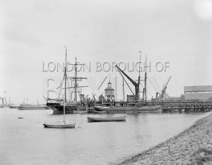 PHRBR_013  Ship and Barge Moored alongside Erith Ballast Wharf