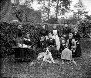DEW097 Portrait of Ten Ladies with St Bernard Dog c.1900