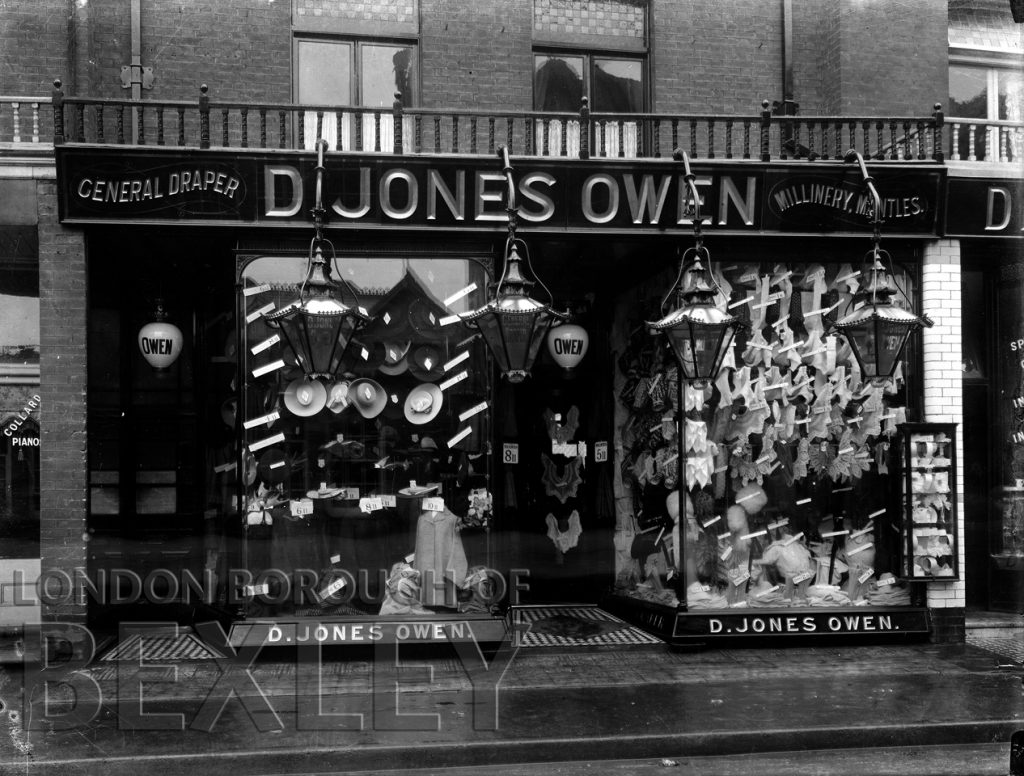Shop Front of D. Jones Owen, Dapers and Millinary High Street Sidcup c.1900