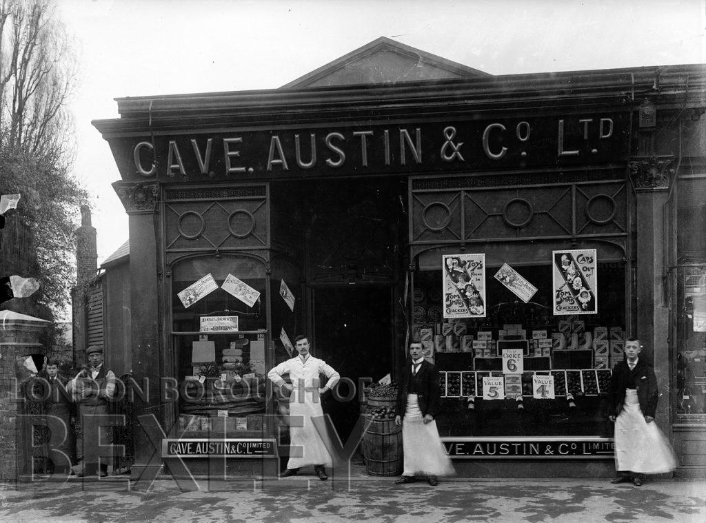 Shop Front Cave, Austin & Co, Ltd, Grocers, High Street Sidcup c.1900