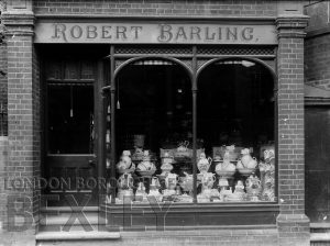 DEW170 Shop front of Robert Barling Furnishers Chinaware, Sidcup c.1900