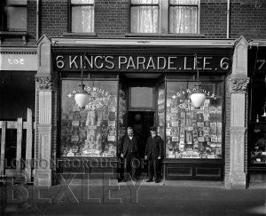 DEW171 Shop front of Alfred J Charlesworth, 6 King's Parade, Lee c.1900
