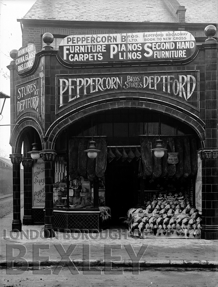 Shop fornt of Peppercorn Brothers Provision Dealers, Deptford c.1900