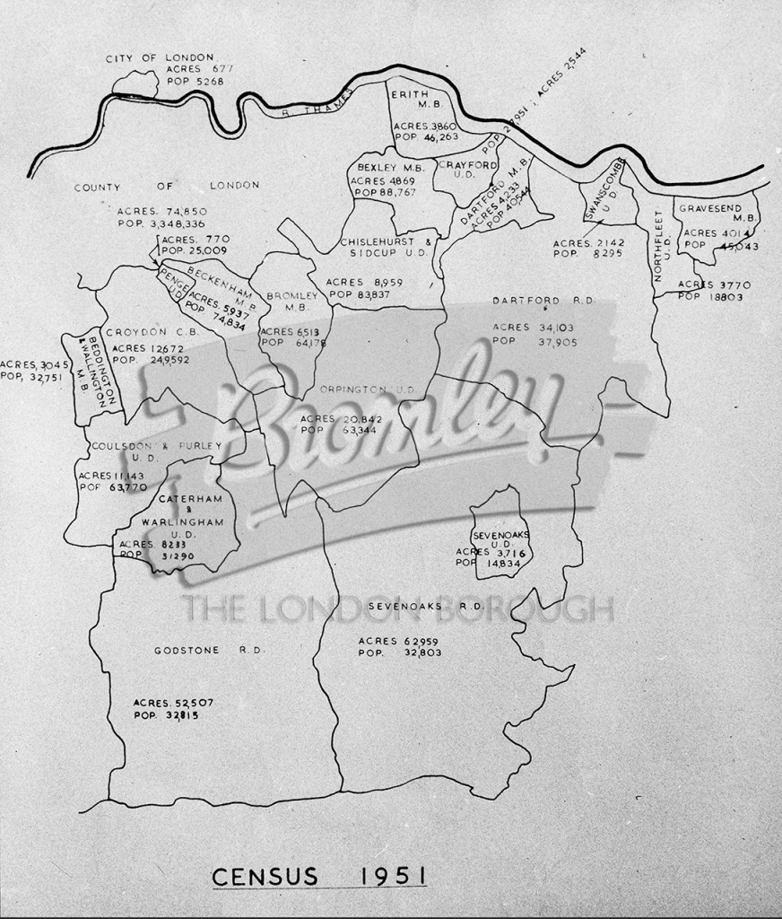 Map Of London North South East West.Phls 0123 Map Of Urban And Rural District Council S To The South