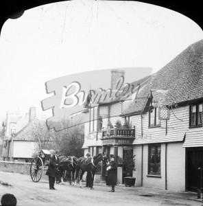 Horse and carriage ouside a public house, undated