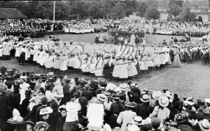 Band playing in recreation ground,  1900s