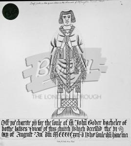 Brass of John Goder Batchelor, All Saints Church, Orpington 1500s