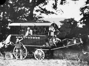 Horse drawn gypsy caravan,  1874