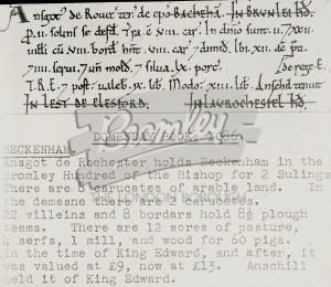 Domesday Book Beckenham, 1086