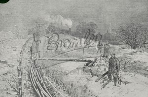Telegraph wire down in snow,  1800