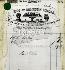Copy of Invoice from George Wells Company, Bromley 1854