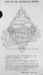 Arms of the University of Oxford  MISSING ?,  After 1952