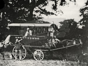 Horse-drawn gypsy caravan,  1874