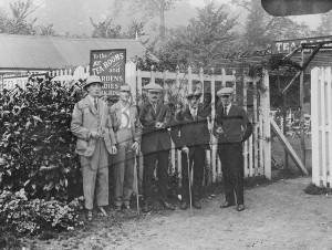 Group of five men at Tea Garden, West Wickhan c.1920s