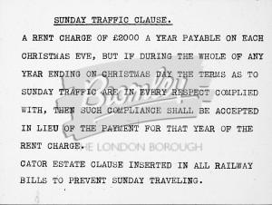 Railways: Prevent Sunday Travel, Beckenham
