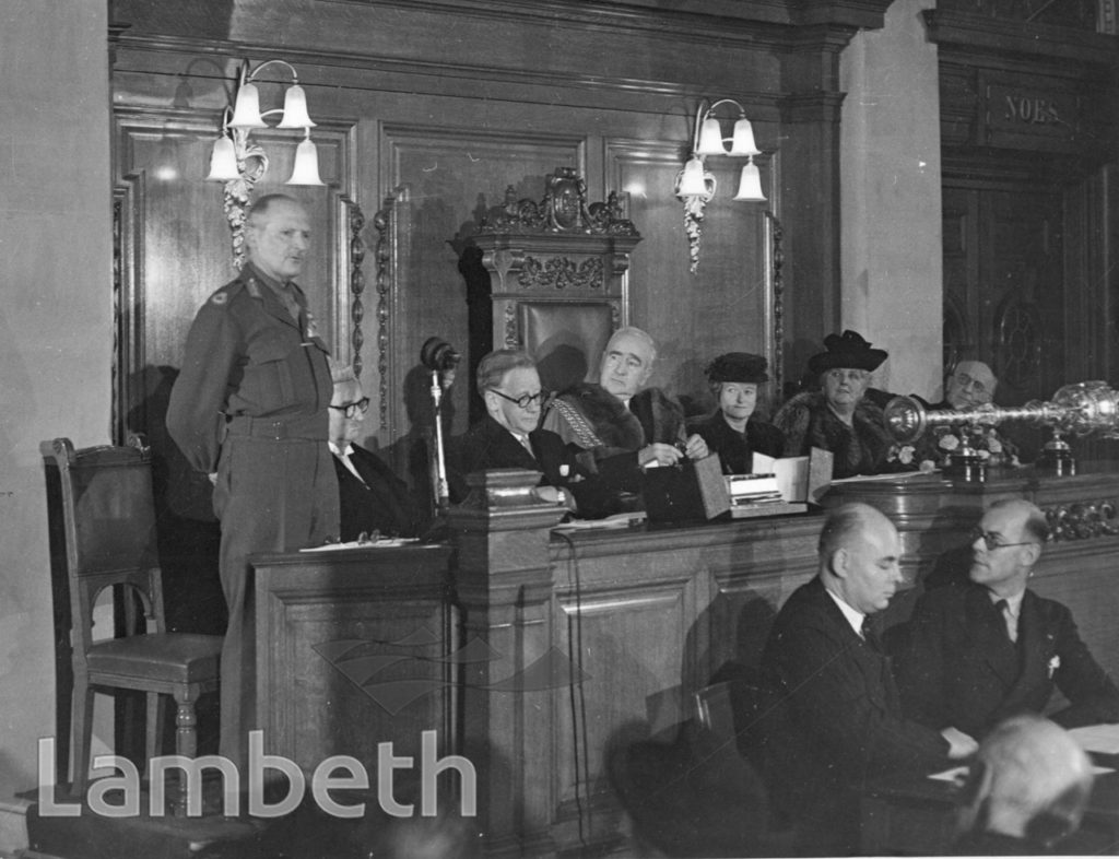 MONTGOMERY'S VISIT, LAMBETH TOWN HALL : WORLD WAR II
