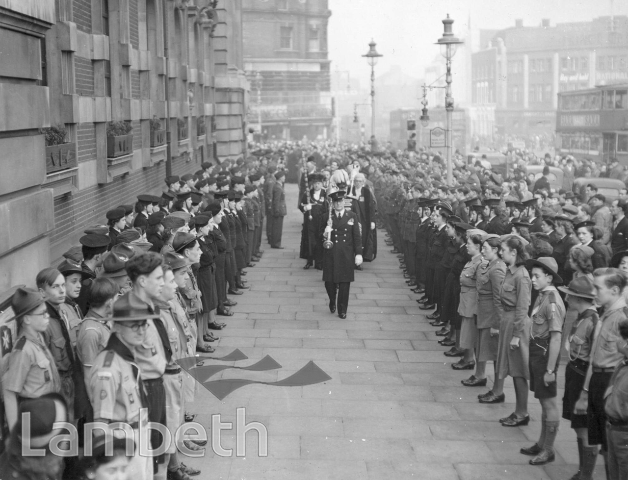 LORD MAYOR'S VISIT, LAMBETH TOWN HALL, BRIXTON :WORLD WAR II
