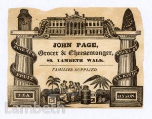 JOHN PAGE, LAMBETH WALK, LAMBETH: ADVERTISEMENT