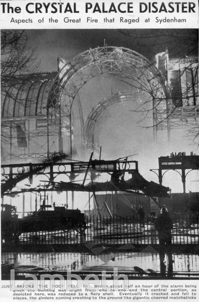 CRYSTAL PALACE FIRE, SYDENHAM, UPPER NORWOOD