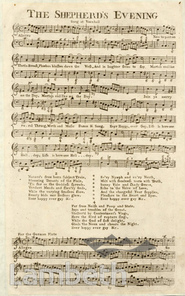 VAUXHALL GARDENS: SONG SHEET