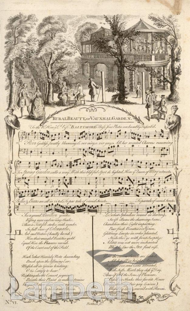 VAUXHALL GARDENS: SONG SHEET