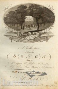 VAUXHALL GARDENS: SONG BOOK, FRONTISPIECE
