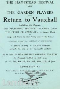 'VAUXHALL GARDENS', HAMPSTEAD FESTIVAL HANDBILL