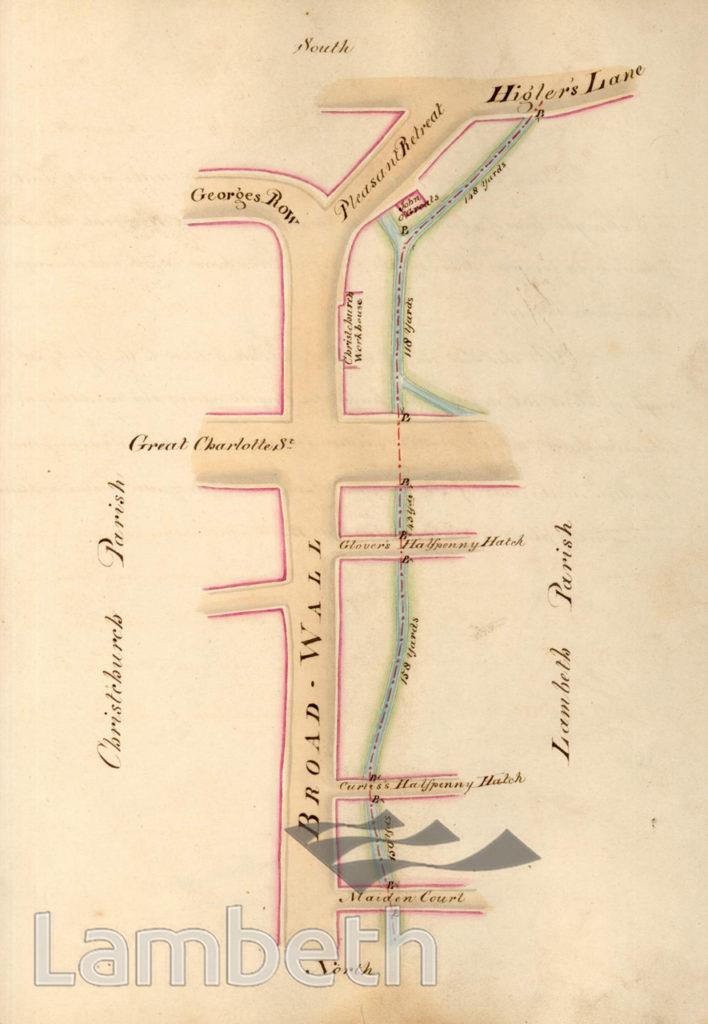 LAMBETH PARISH BOUNDARY WATERLOO, BROADWALL TO HIGLER'S LANE