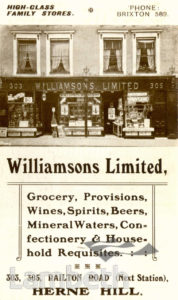 WILLIAMSONS, RAILTON ROAD, HERNE HILL: ADVERTISEMENT