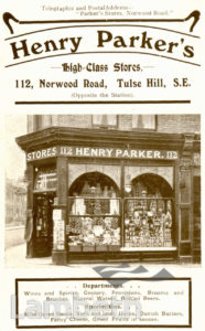 HENRY PARKER'S, NORWOOD ROAD, TULSE HILL: ADVERTISEMENT
