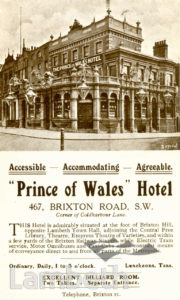 PRINCE OF WALES HOTEL, BRIXTON ROAD, BRIXTON: ADVERTISEMENT