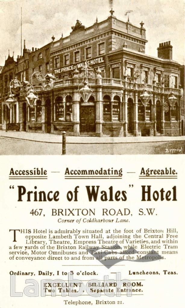 PRINCE OF WALES HOTEL, BRIXTON ROAD, BRIXTON: ADVERTISEMENT