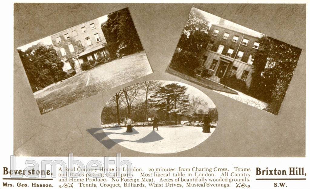 BEVERSTONE BOARDING HOUSE, BRIXTON HILL: ADVERTISEMENT