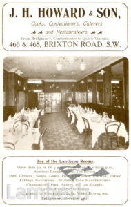 J.H.HOWARD, BRIXTON ROAD, BRIXTON CENTRAL: ADVERTISEMENT